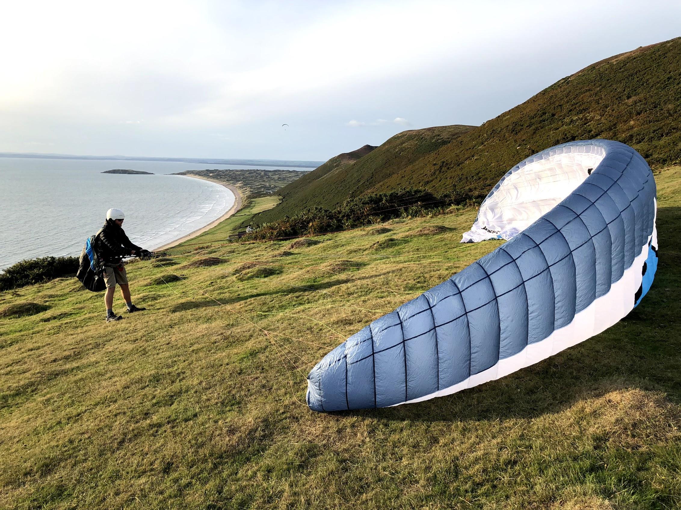 Paragliding at Rhossili